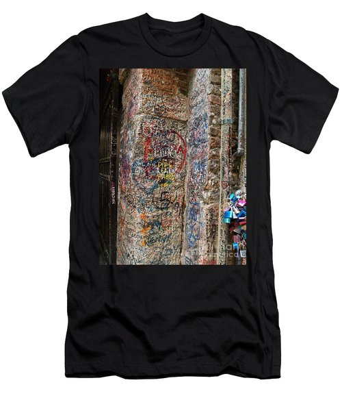 Men's T-Shirt (Slim Fit) featuring the photograph Verona Italy Locks Of Love by Robin Maria Pedrero