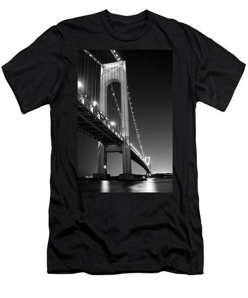 Verrazano Bridge At Night - Black And White Men's T-Shirt (Athletic Fit)