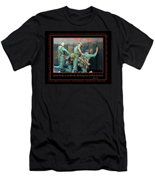 Veterans At Vietnam Wall Men's T-Shirt (Slim Fit) by Carolyn Marshall