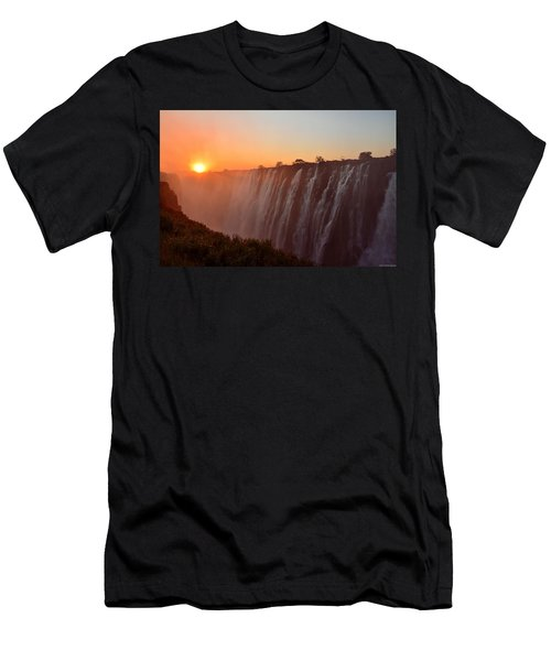 Victoria Falls At Sunset Men's T-Shirt (Slim Fit) by Jeff at JSJ Photography