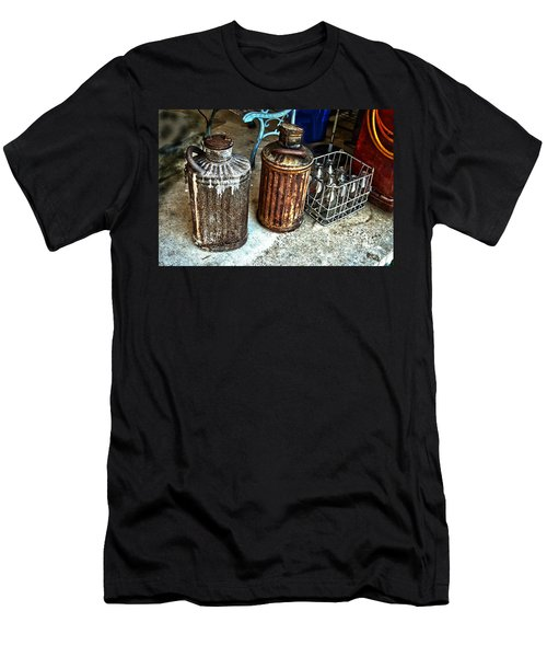 Men's T-Shirt (Slim Fit) featuring the photograph Hdr Vintage Art  Cans And Bottles by Lesa Fine
