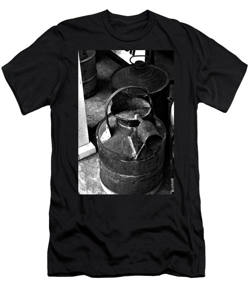 Men's T-Shirt (Slim Fit) featuring the photograph Vintage B/w Galvanized Container by Lesa Fine