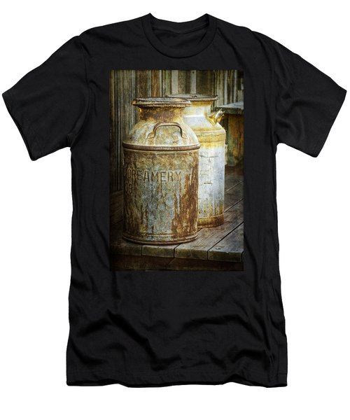 Vintage Creamery Cans In 1880 Town In South Dakota Men's T-Shirt (Slim Fit) by Randall Nyhof