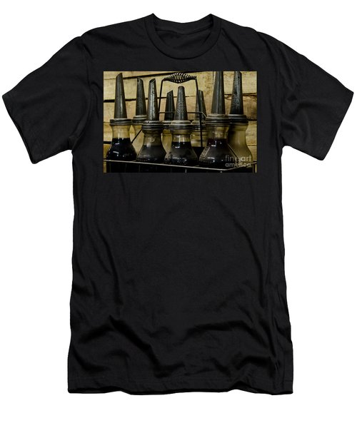 Men's T-Shirt (Slim Fit) featuring the photograph Vintage Glass  Motor Oil Bottles by Wilma  Birdwell
