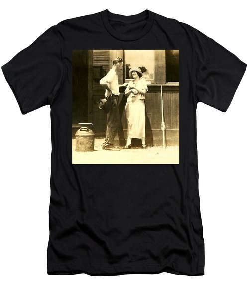 Men's T-Shirt (Slim Fit) featuring the photograph Vintage Love In Memory Of My Deceased Grandfather From Ireland I Never New by Michael Hoard