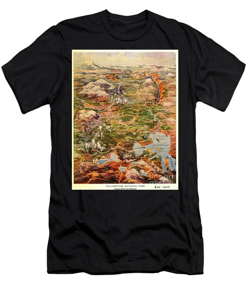 Vintage Map Of Yellowstone National Park Men's T-Shirt (Athletic Fit)