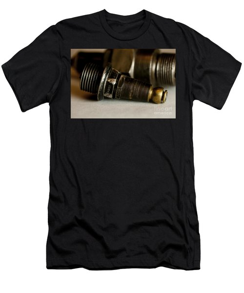 Men's T-Shirt (Slim Fit) featuring the photograph Vintage Motorcycle Spark Plugs by Wilma  Birdwell