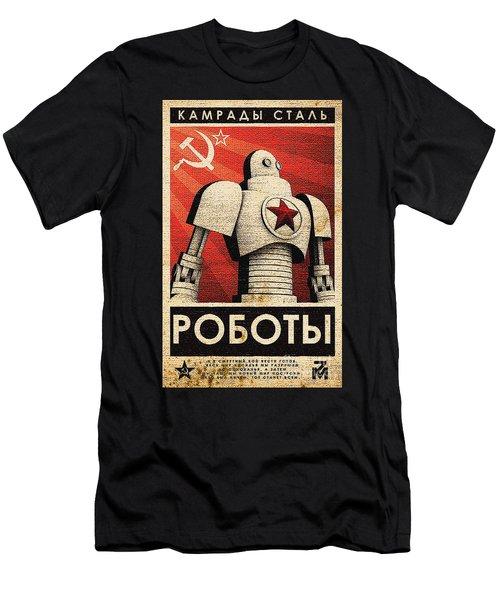 Vintage Russian Robot Poster Men's T-Shirt (Slim Fit) by R Muirhead Art