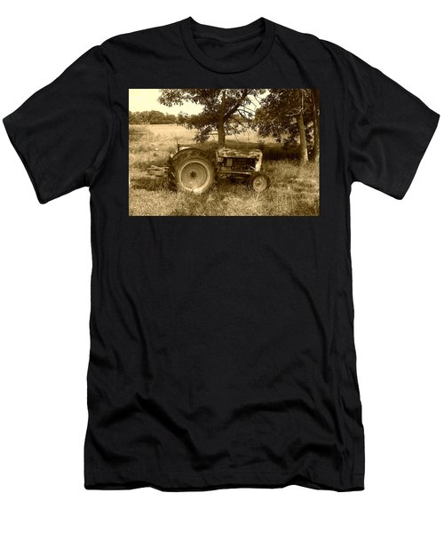 Men's T-Shirt (Slim Fit) featuring the photograph Vintage Tractor In Sepia by Cynthia Lassiter