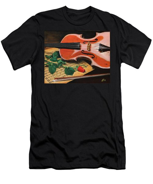 Violin And Rose Men's T-Shirt (Athletic Fit)