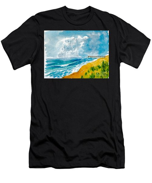 Virginia Beach With Pier Men's T-Shirt (Athletic Fit)