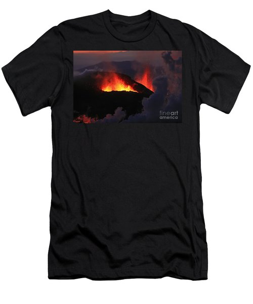 Men's T-Shirt (Slim Fit) featuring the photograph Volcanic Eruptions by Gunnar Orn Arnason