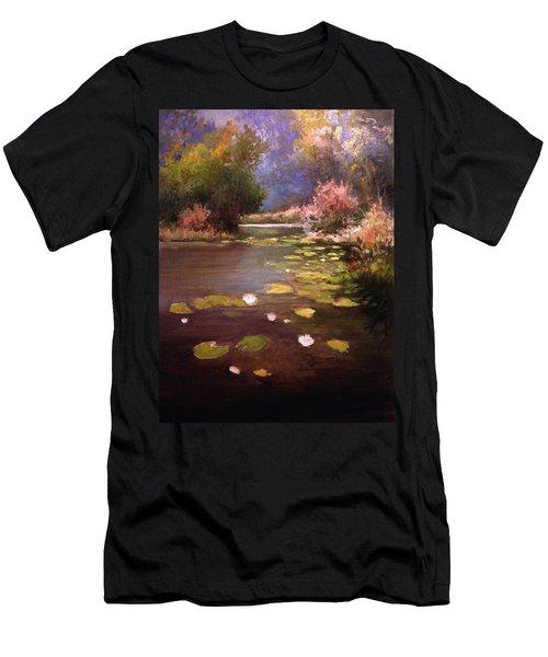Men's T-Shirt (Slim Fit) featuring the painting Voronezh River by Mikhail Savchenko