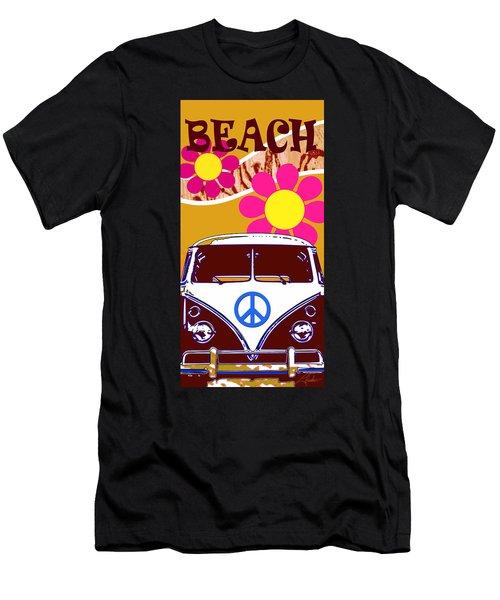 Vw Beach  Tan Men's T-Shirt (Athletic Fit)