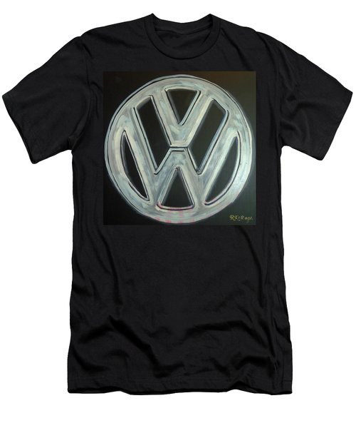 Men's T-Shirt (Athletic Fit) featuring the painting Vw Logo Chrome by Richard Le Page