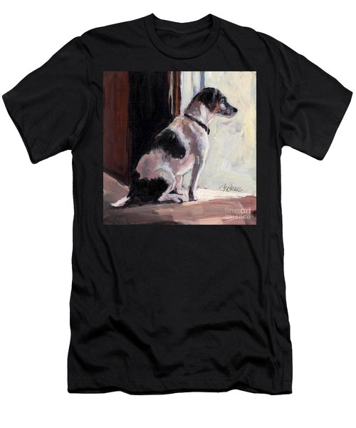 Men's T-Shirt (Slim Fit) featuring the painting Wait And See by Molly Poole