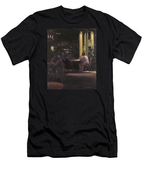 Waiting At The Night Cafe Men's T-Shirt (Slim Fit) by Connie Schaertl
