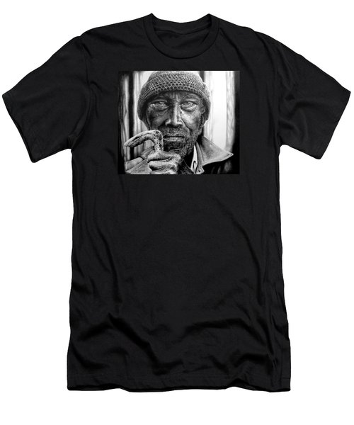 Man With Cane Men's T-Shirt (Slim Fit) by Geni Gorani