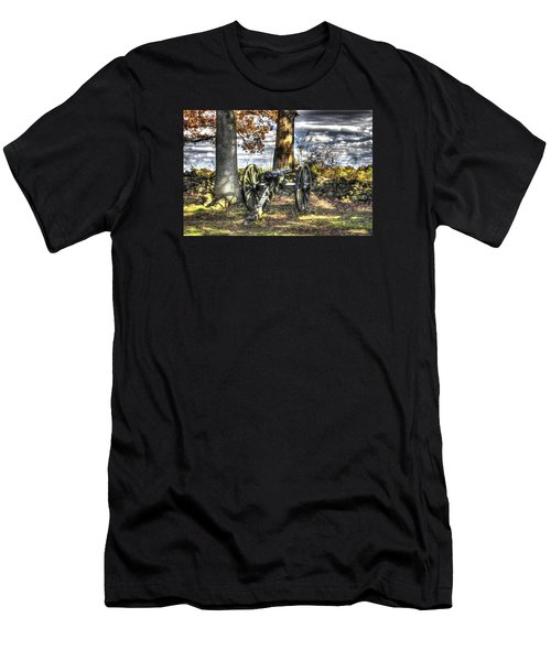 Men's T-Shirt (Slim Fit) featuring the photograph War Thunder - Lane's Battalion Ross's Battery-b1 West Confederate Ave Gettysburg by Michael Mazaika