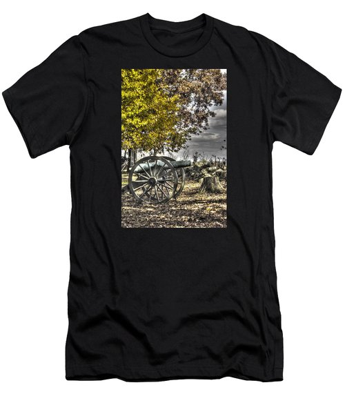 Men's T-Shirt (Slim Fit) featuring the photograph War Thunder - The Purcell Artillery Mc Graw's Battery-a2 West Confederate Ave Gettysburg by Michael Mazaika