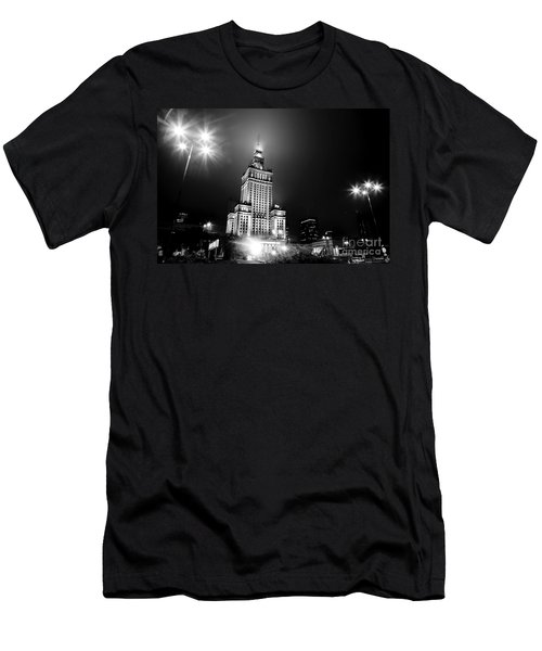 Warsaw Poland Downtown Skyline At Night Men's T-Shirt (Athletic Fit)