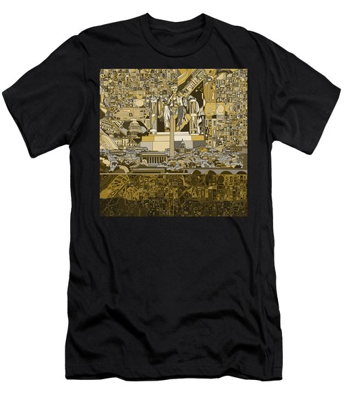 Washington Dc Skyline Abstract 4 Men's T-Shirt (Slim Fit) by Bekim Art