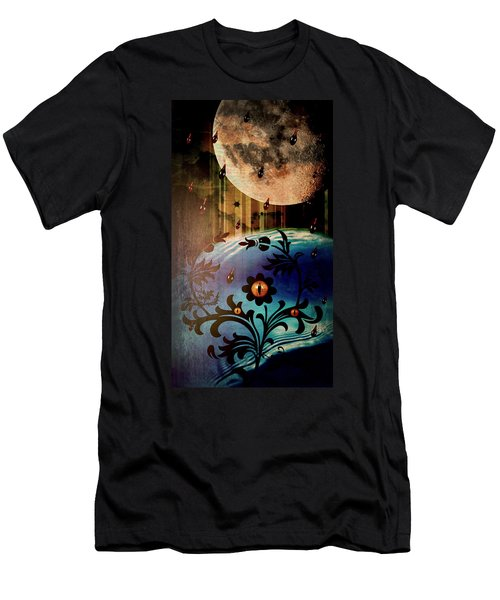 Men's T-Shirt (Slim Fit) featuring the mixed media Watching by Ally  White