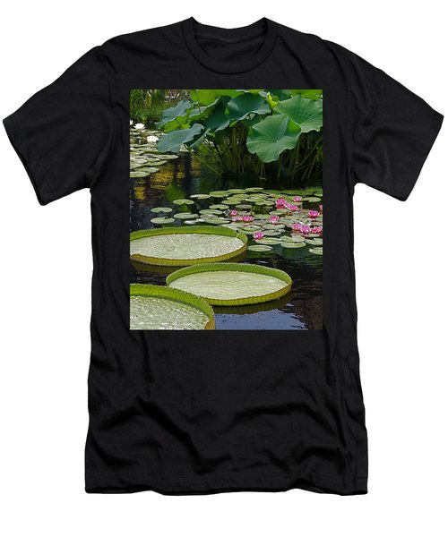 Men's T-Shirt (Slim Fit) featuring the photograph Water Lilies And Platters And Lotus Leaves by Byron Varvarigos