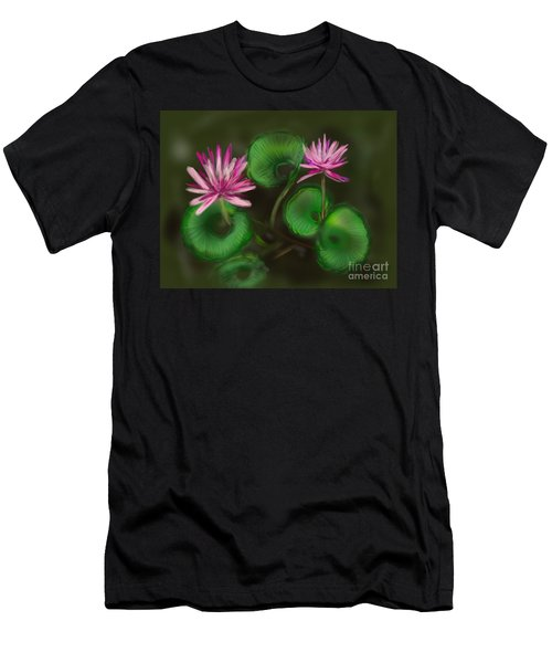 Men's T-Shirt (Slim Fit) featuring the digital art Water Lilies by Christine Fournier