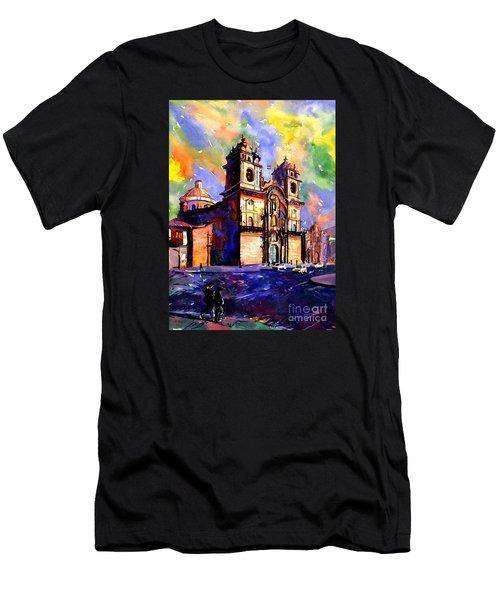 Watercolor Painting Of Church On The Plaza De Armas Cusco Peru Men's T-Shirt (Slim Fit) by Ryan Fox