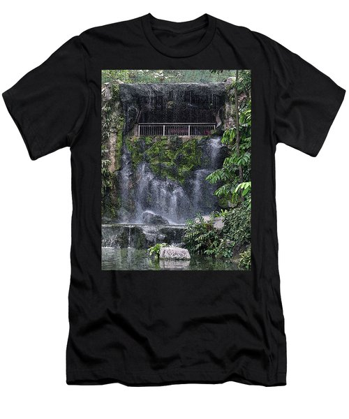 Men's T-Shirt (Slim Fit) featuring the painting Waterfall by Sergey Lukashin