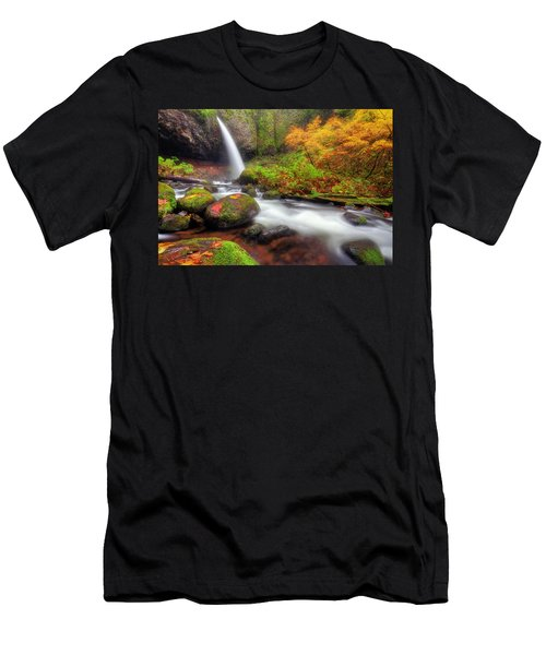 Waterfall With Autumn Colors Men's T-Shirt (Athletic Fit)