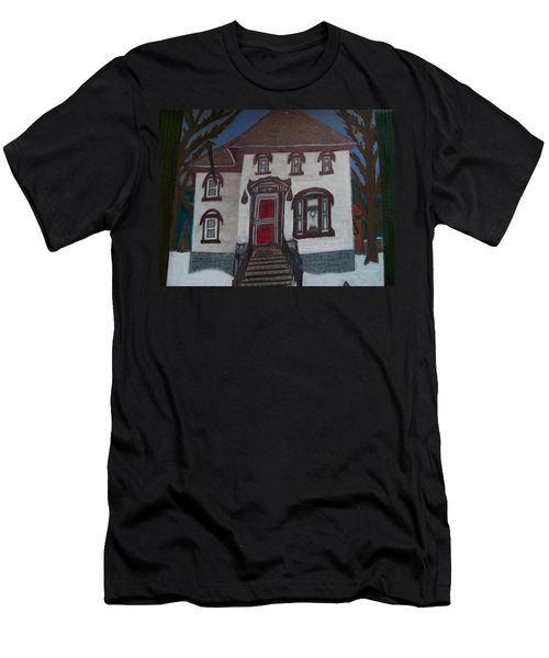 Men's T-Shirt (Slim Fit) featuring the drawing Historic 7th Street Home In Menominee by Jonathon Hansen