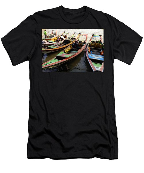 Watertaxis At The Yangon River Nan Thida Ferry Terminal Yangon Myanmar Men's T-Shirt (Athletic Fit)
