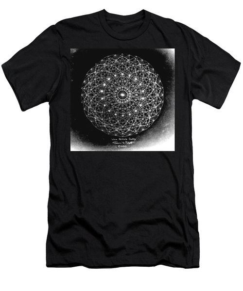 Men's T-Shirt (Slim Fit) featuring the drawing Wave Particle Duality Black White by Jason Padgett
