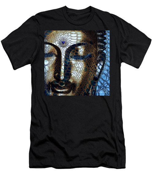 Web Of Dharma - Modern Blue Buddha Art Men's T-Shirt (Slim Fit) by Christopher Beikmann
