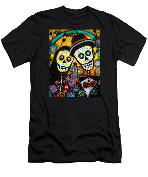 Men's T-Shirt (Slim Fit) featuring the painting Wedding Dia De Los Muertos by Pristine Cartera Turkus