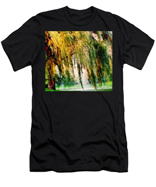 Weeping Willow Tree Painterly Monet Impressionist Dreams Men's T-Shirt (Slim Fit) by Carol F Austin