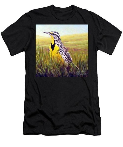 Western Meadowlark Men's T-Shirt (Slim Fit) by Tom Chapman