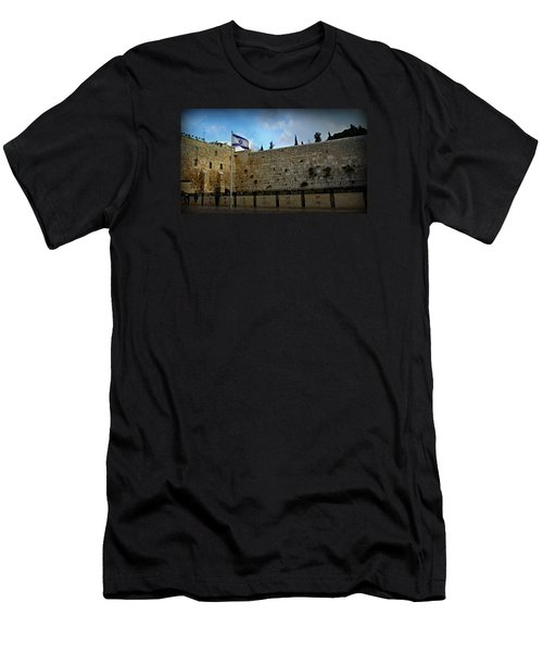 Western Wall And Israeli Flag Men's T-Shirt (Athletic Fit)