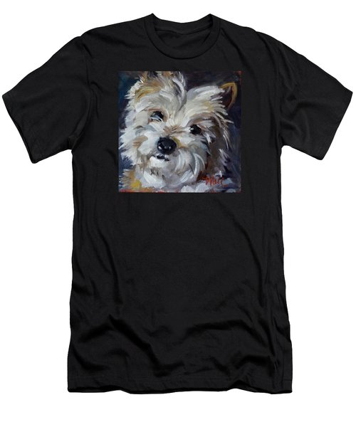 Men's T-Shirt (Slim Fit) featuring the painting Westie Mix by Pattie Wall