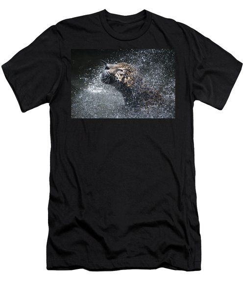 Men's T-Shirt (Slim Fit) featuring the pyrography Wet Jaguar  by Shoal Hollingsworth