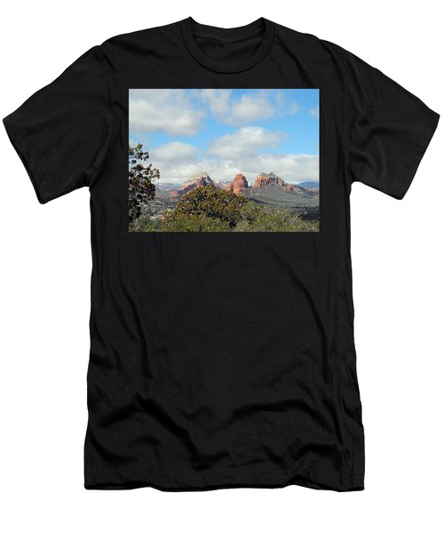 Men's T-Shirt (Athletic Fit) featuring the photograph When Far Clouds Depart by Lynda Lehmann