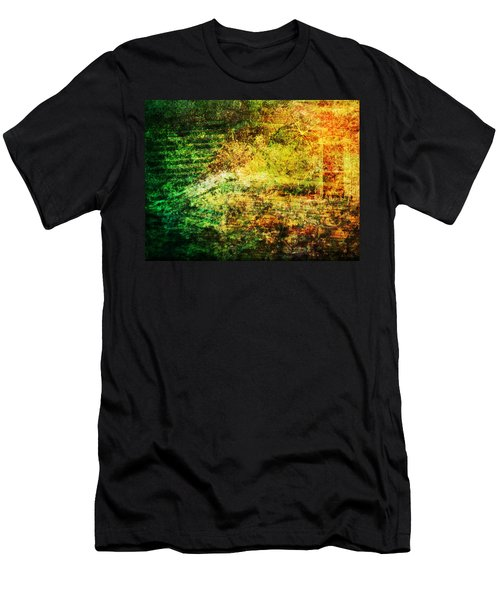 Men's T-Shirt (Slim Fit) featuring the mixed media When Past And Present Intersect #1 by Sandy MacGowan
