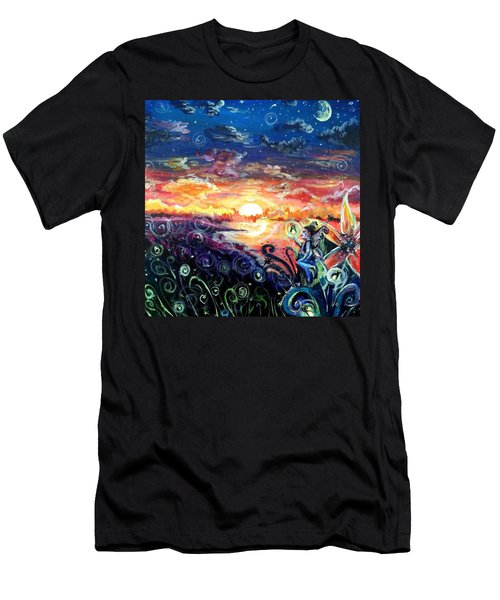 Men's T-Shirt (Slim Fit) featuring the painting Where The Fairies Play by Shana Rowe Jackson