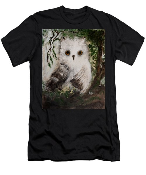 Whisper The Snowy Owl Men's T-Shirt (Slim Fit) by Barbie Batson
