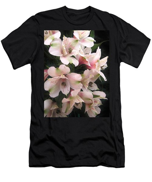 Men's T-Shirt (Slim Fit) featuring the photograph White And Pink Peruvian Lilies by Diane Alexander