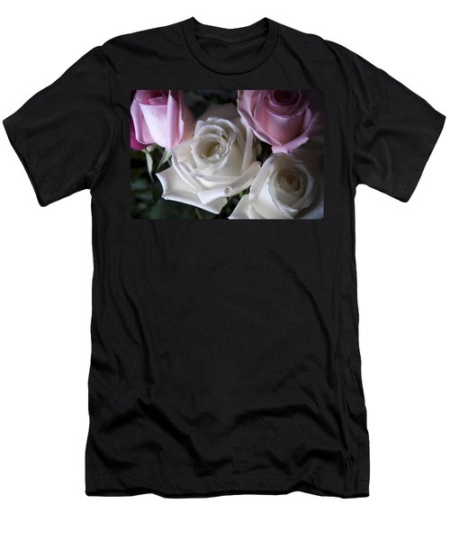 White And Pink Roses Men's T-Shirt (Athletic Fit)