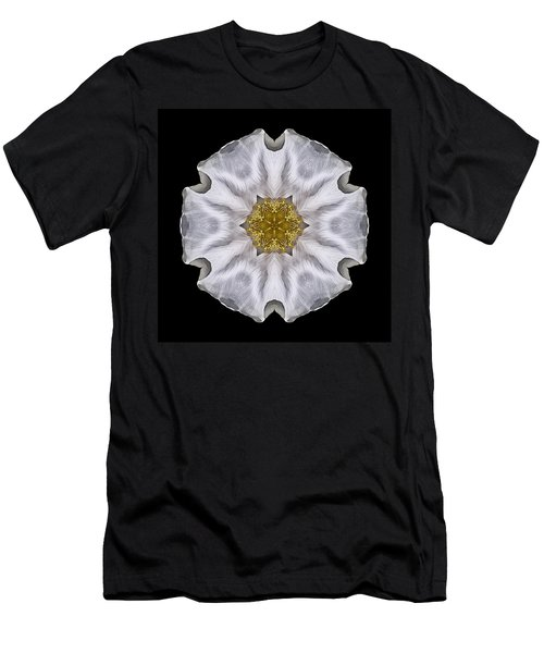 White Beach Rose I Flower Mandala Men's T-Shirt (Athletic Fit)