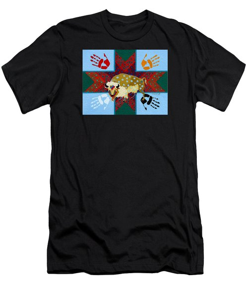 Men's T-Shirt (Athletic Fit) featuring the painting White Buffalo Calf Legend by Chholing Taha